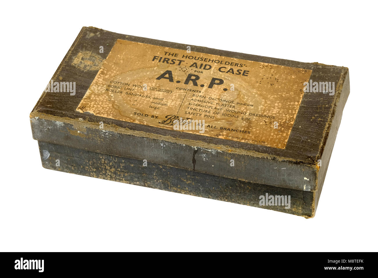 WW2 'The Householders' First Aid Case for ARP' (Air Raid Precaution), sold by all Boots branches - Stock Image