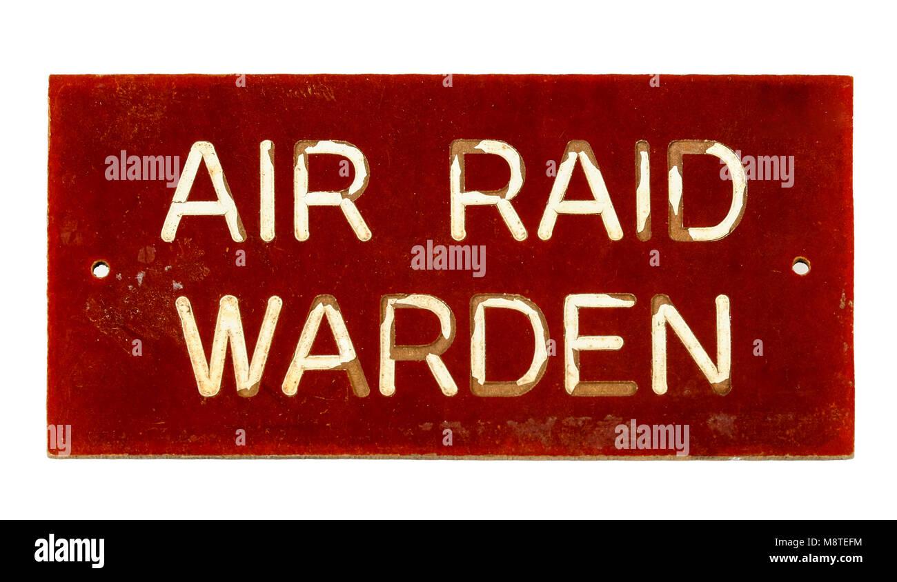 WW2 British Air Raid Warden sign - Stock Image