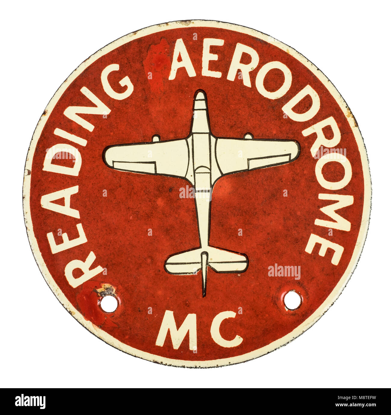 Reading Aerodrome circular car badge from the 1930s . It was opened in 1929 and used during World War Two as a base - Stock Image