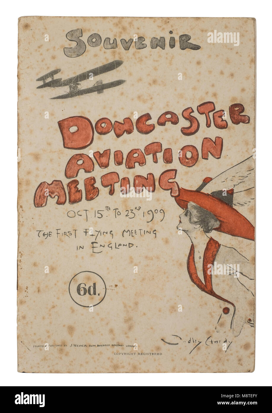 Rare 1909 Doncaster Aviation Meeting souvenir programme. Held from 15th to 23rd October 1909, this was the first - Stock Image
