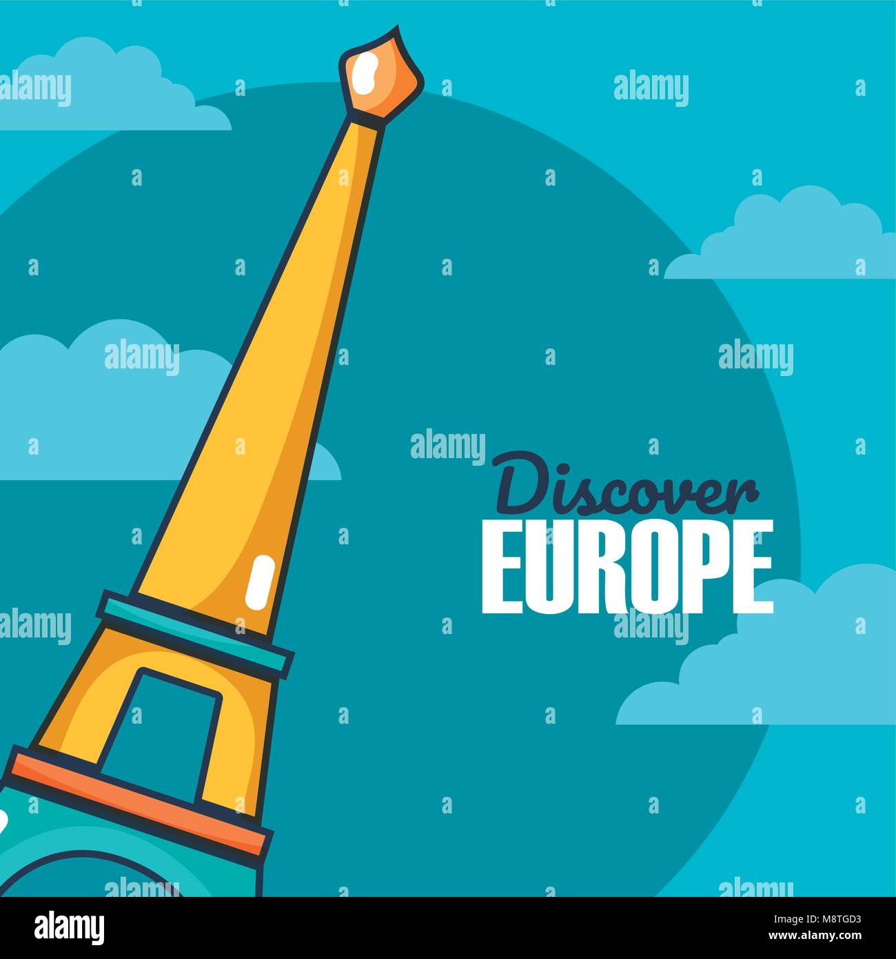Travel and discover europe card over sky background - Stock Image