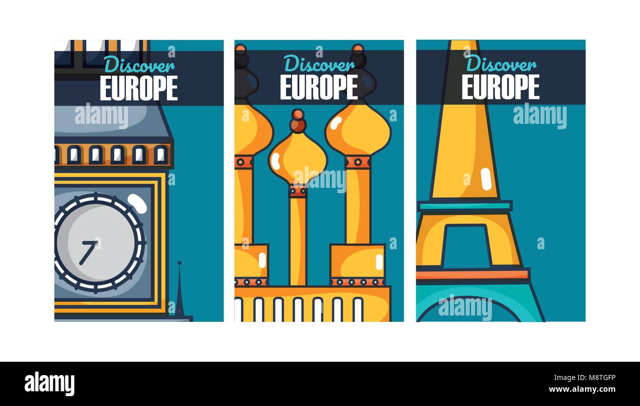 Travel and discover europe on colorful frames cartoons - Stock Image