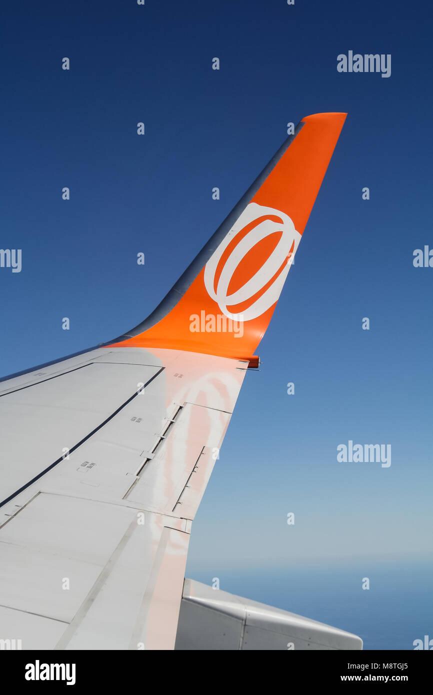 Sao Paulo, SP, Brazil - April 6 2011: GOL airliner winglet in-flight - Stock Image