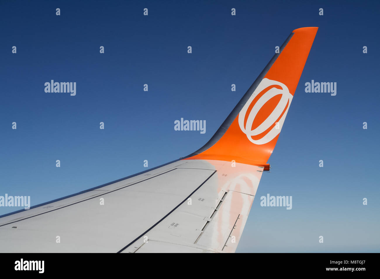 Sao Paulo, SP, Brazil - April 6 2011: GOL airliner winglet in-flight Stock Photo