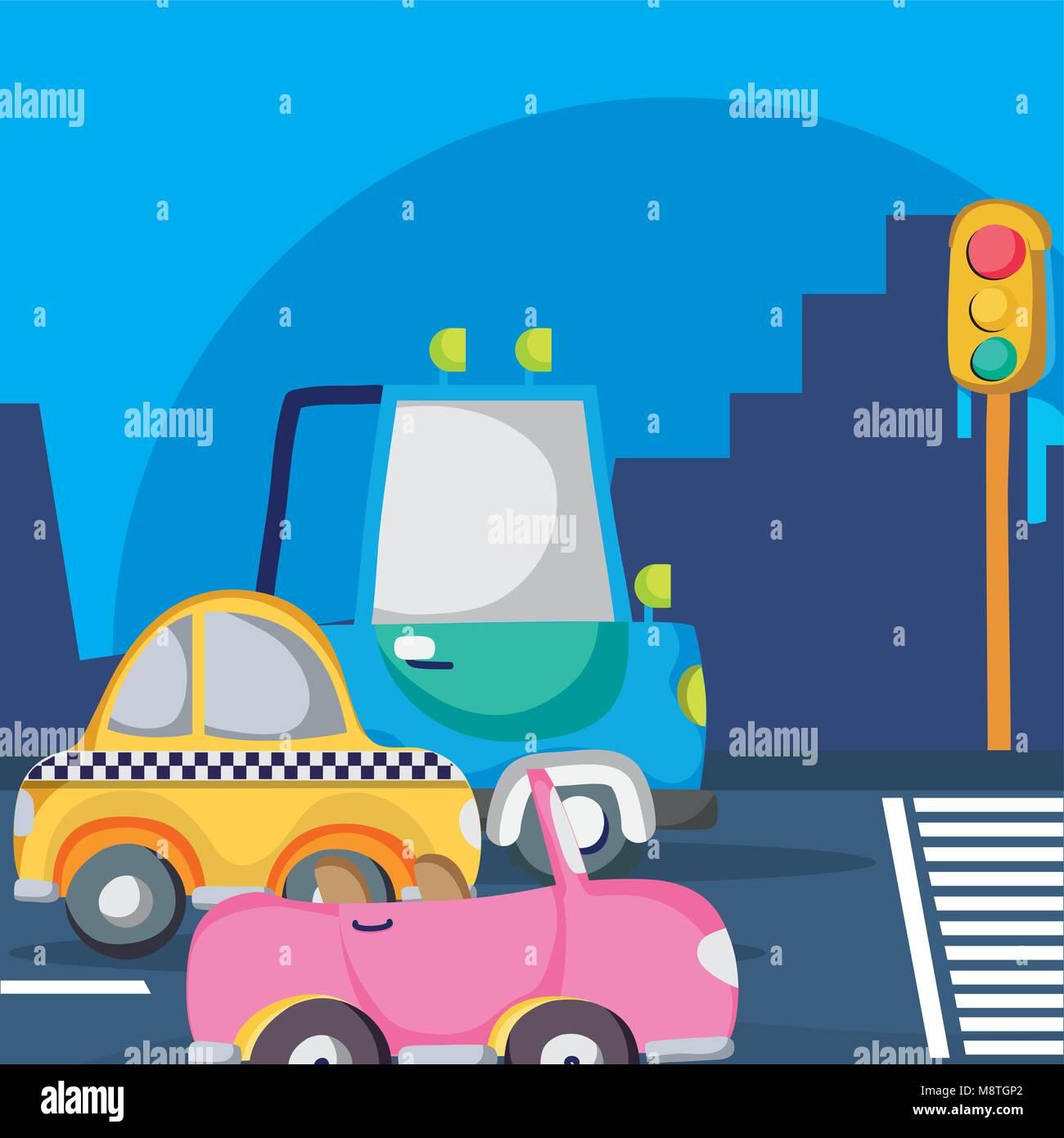 Vehicles waiting traffic light Stock Vector