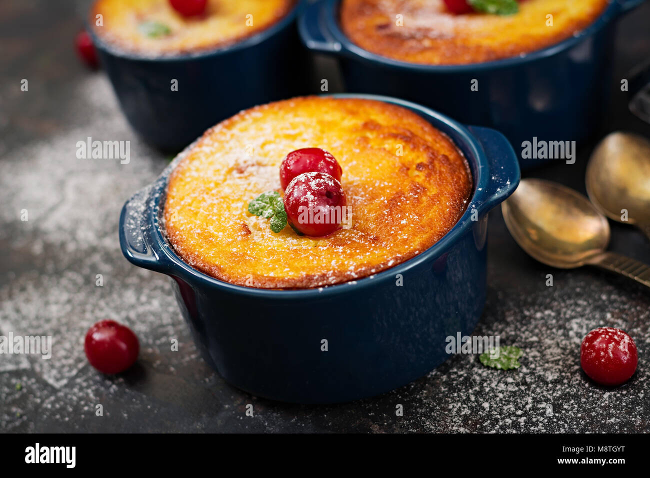 Cottage cheese casserole with cherries - Stock Image