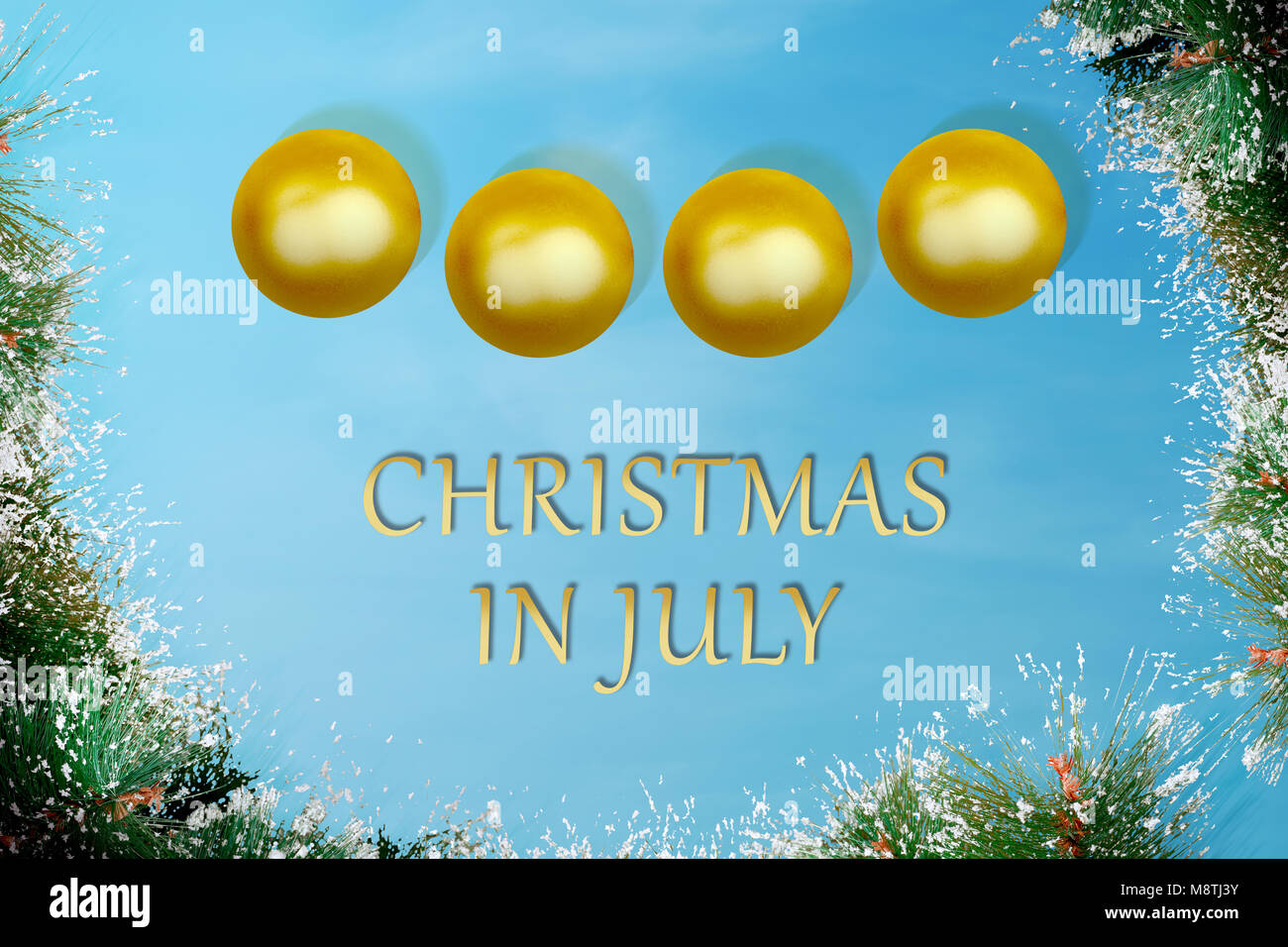 Christmas In July Background Images.Golden Christmas Ball With Pines Tree Leaf On Christmas In