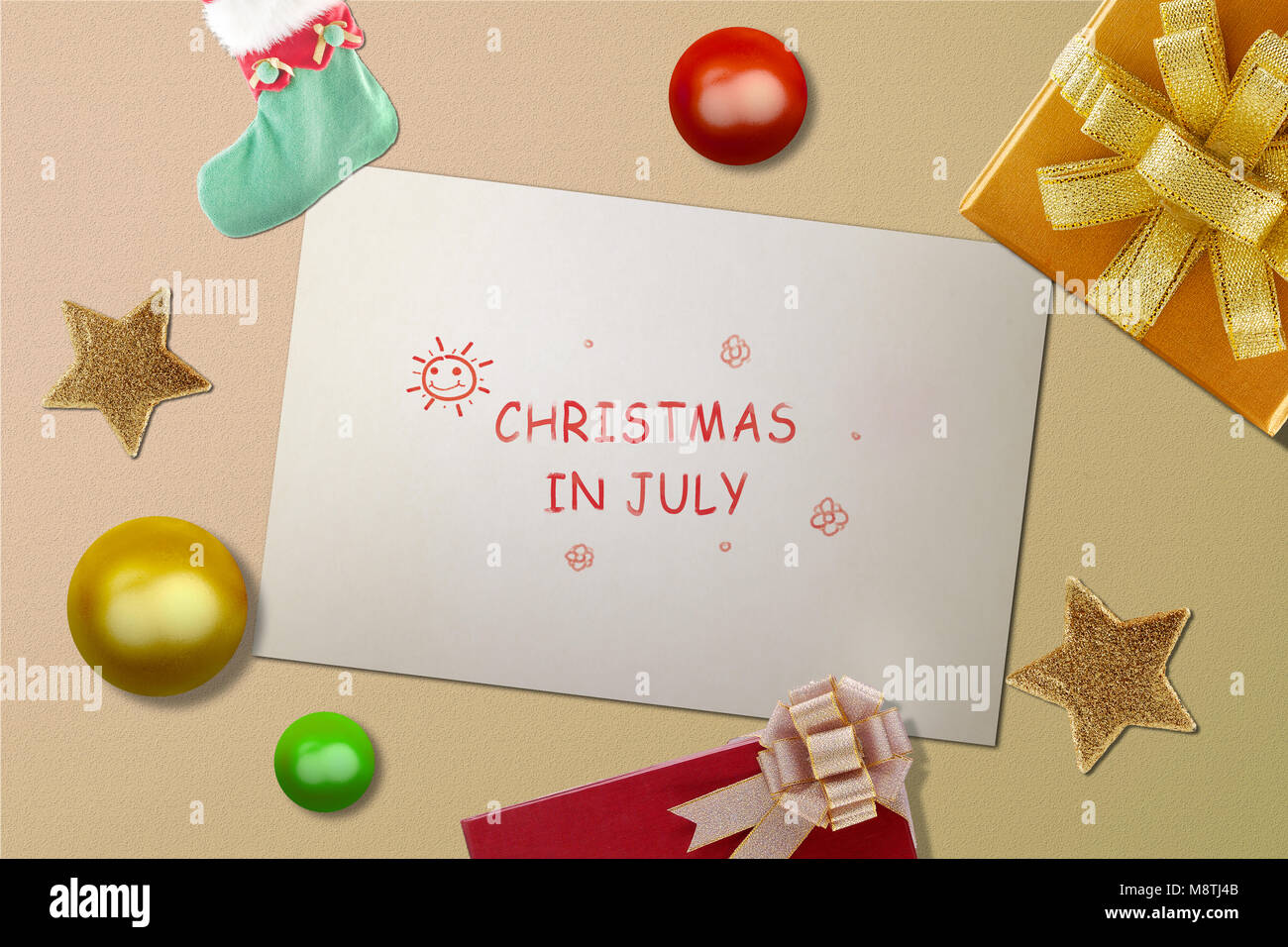 Christmas In July Background Images.White Paper With Text Christmas In July With Christmas