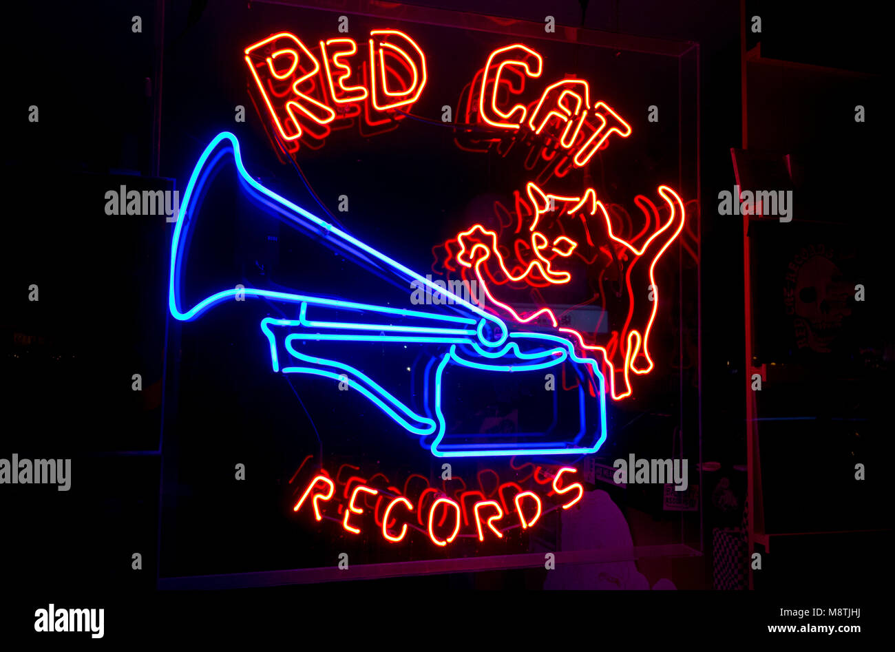 Neon sign for Red Cat Records, a vinyl record store in the South Main area of Vancouver. BC. Canada. Stock Photo