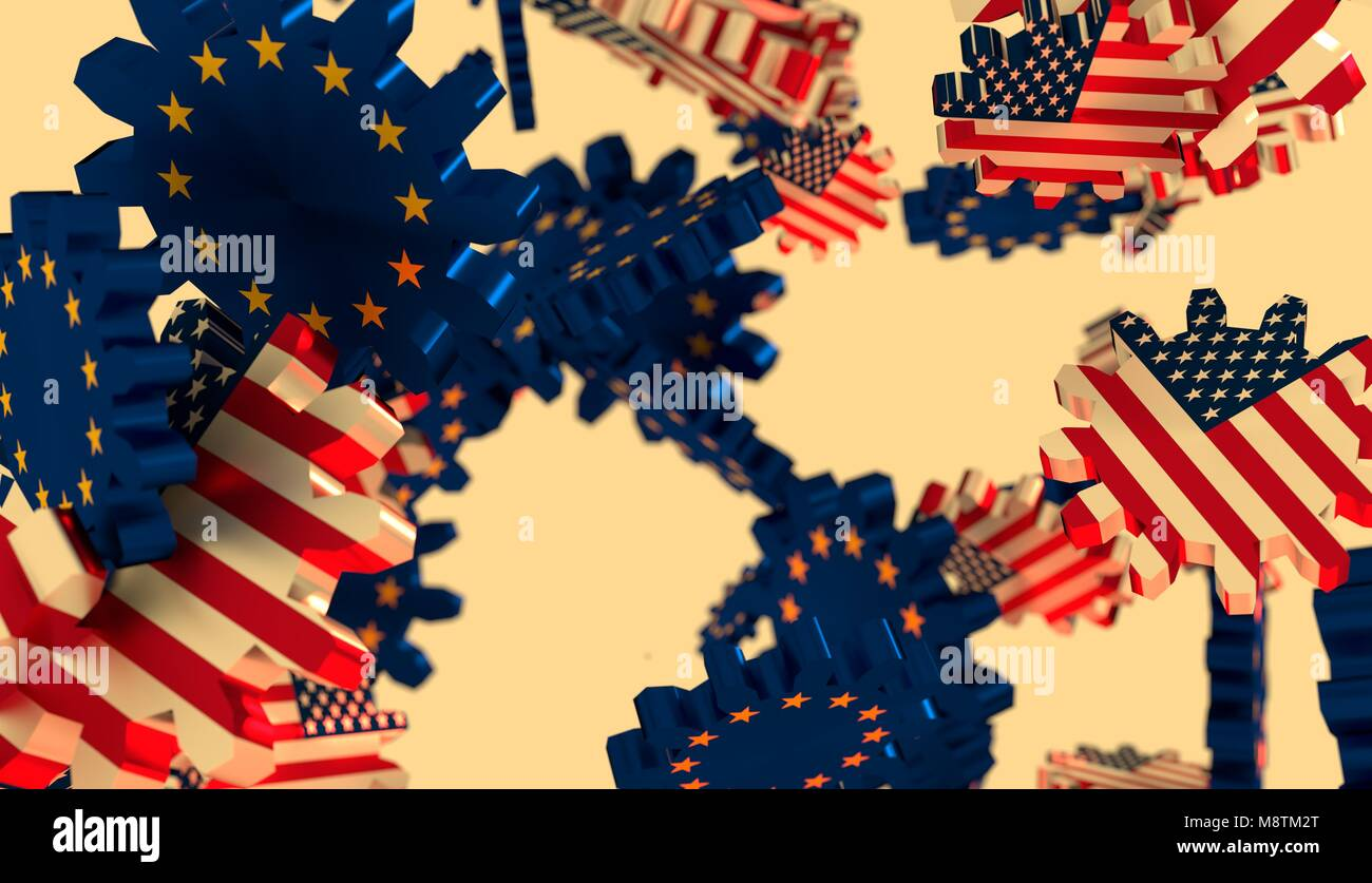 Politic and economic relationship between USA and European Union - Stock Image