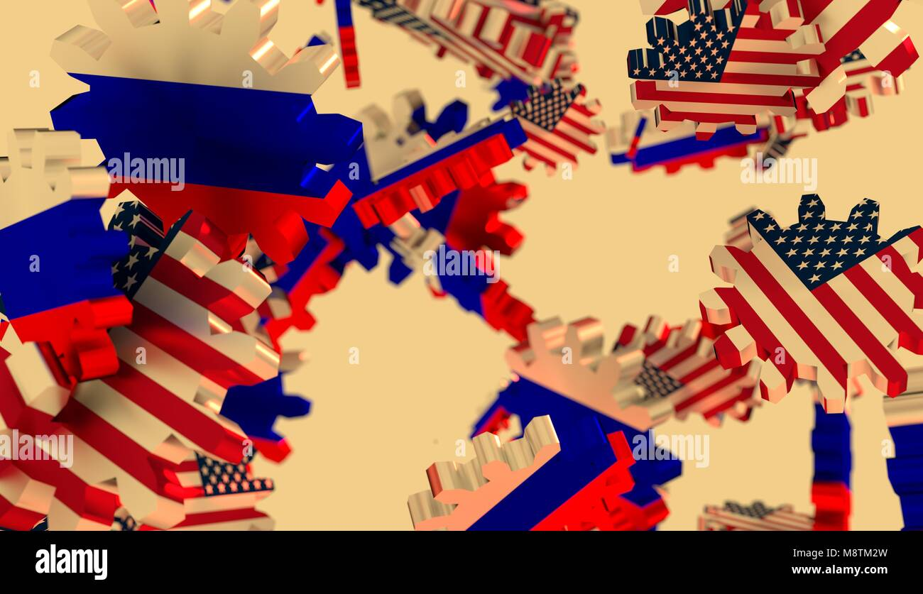 Politic and economic relationship between USA and Russia - Stock Image