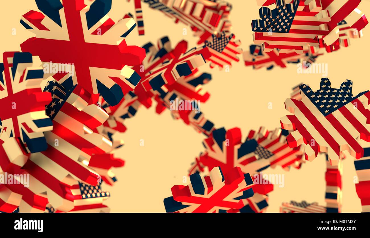 Politic and economic relationship between USA and Great Britain - Stock Image