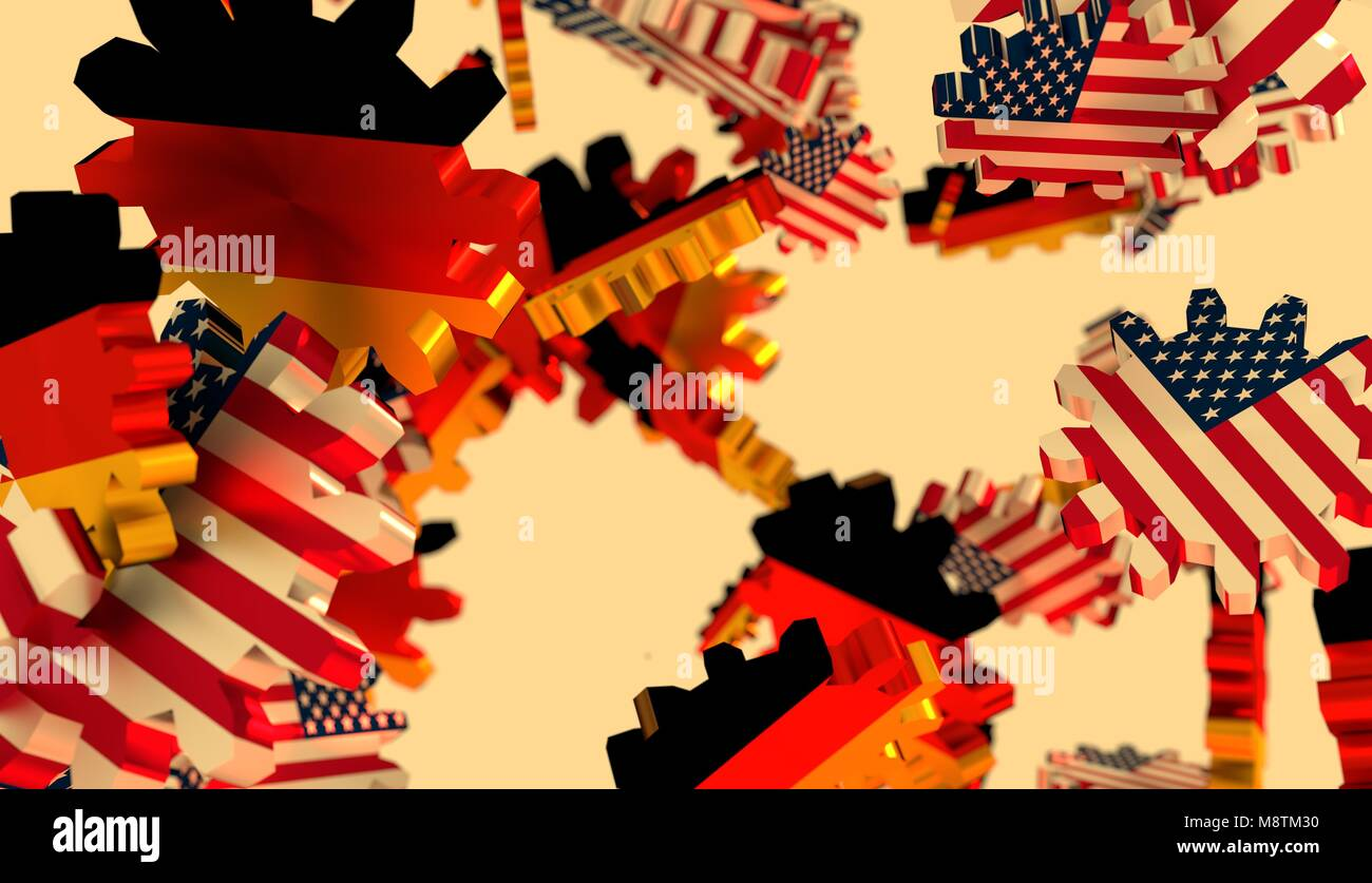 Politic and economic relationship between USA and Germany - Stock Image