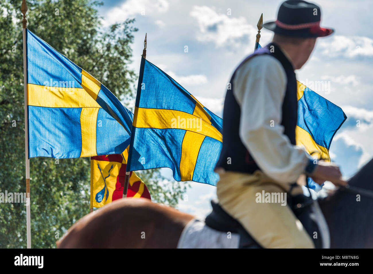 Traditional midsummer celebration in Rattvik, Dalarna,Sweden - Stock Image