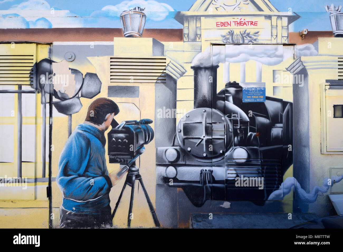 Painting of Steam Train, Eden Theatre, from of Early Movie 'Arrival of a train at La Ciotat' filmed by the - Stock Image