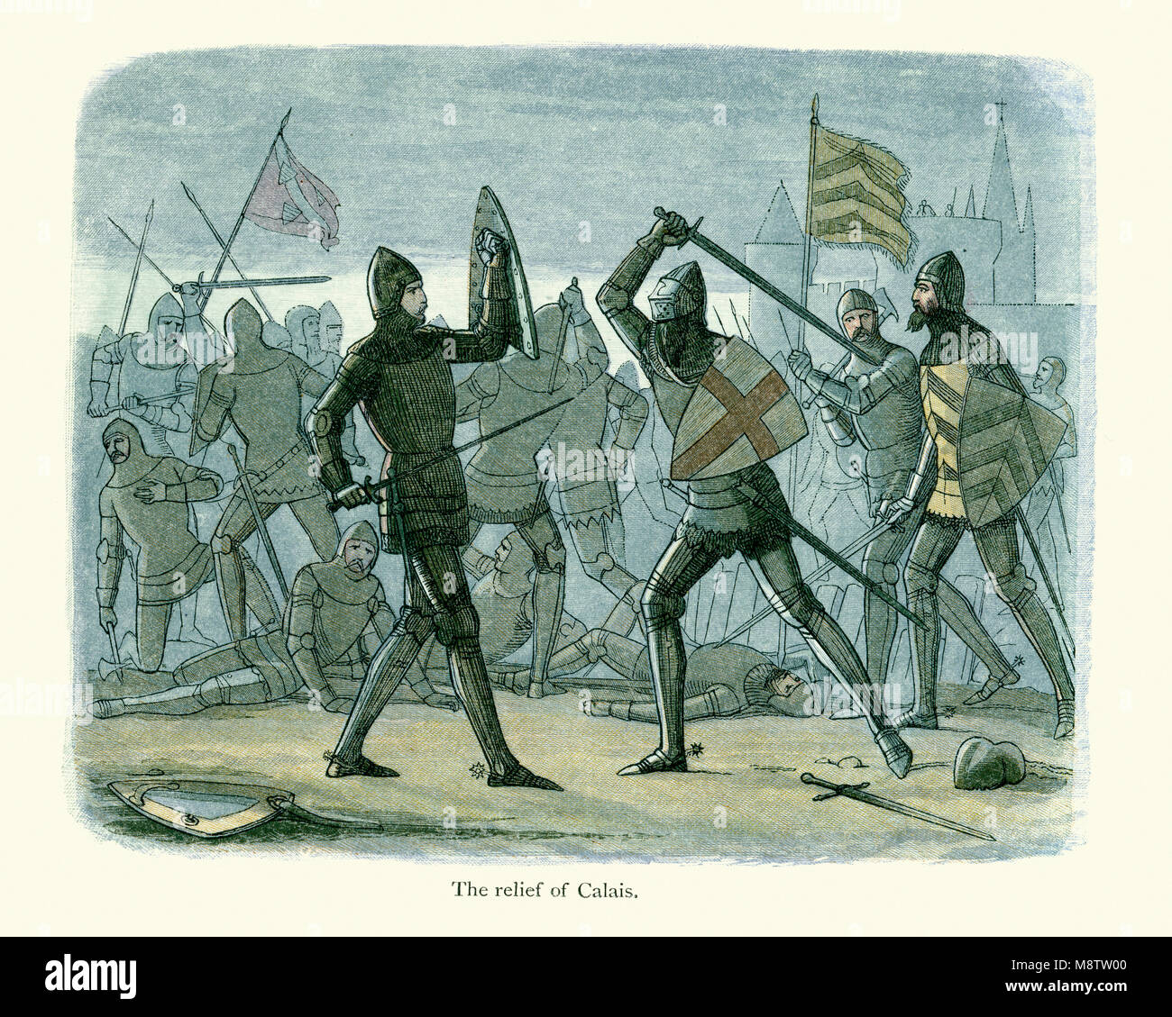 The relief of Calais.  English and French troops fight during the Hundred Years War. - Stock Image
