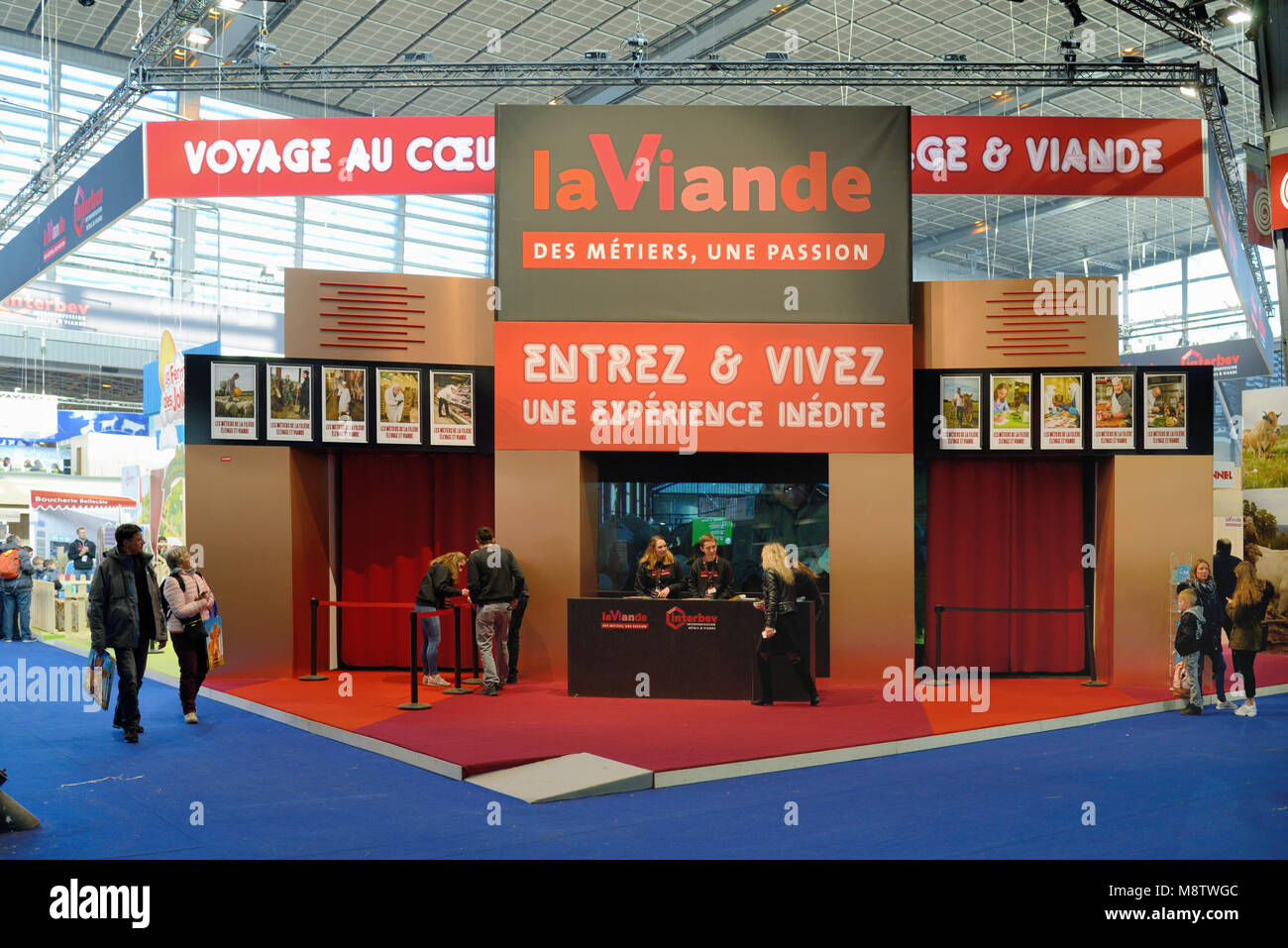 Meat Promotion Stand at the Paris International Agricultural Show or Salon International de ll'Agriculture (SIA) - Stock Image