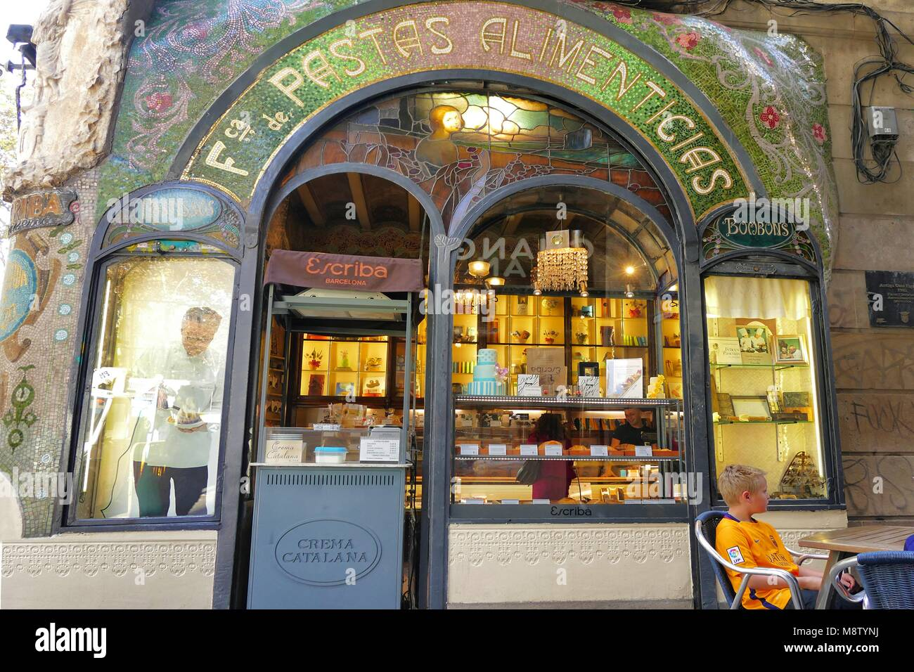 Barcelona Catalunya circa November 2016 The famous historic pastry shop Escriba on la Rambla exterior view - Stock Image