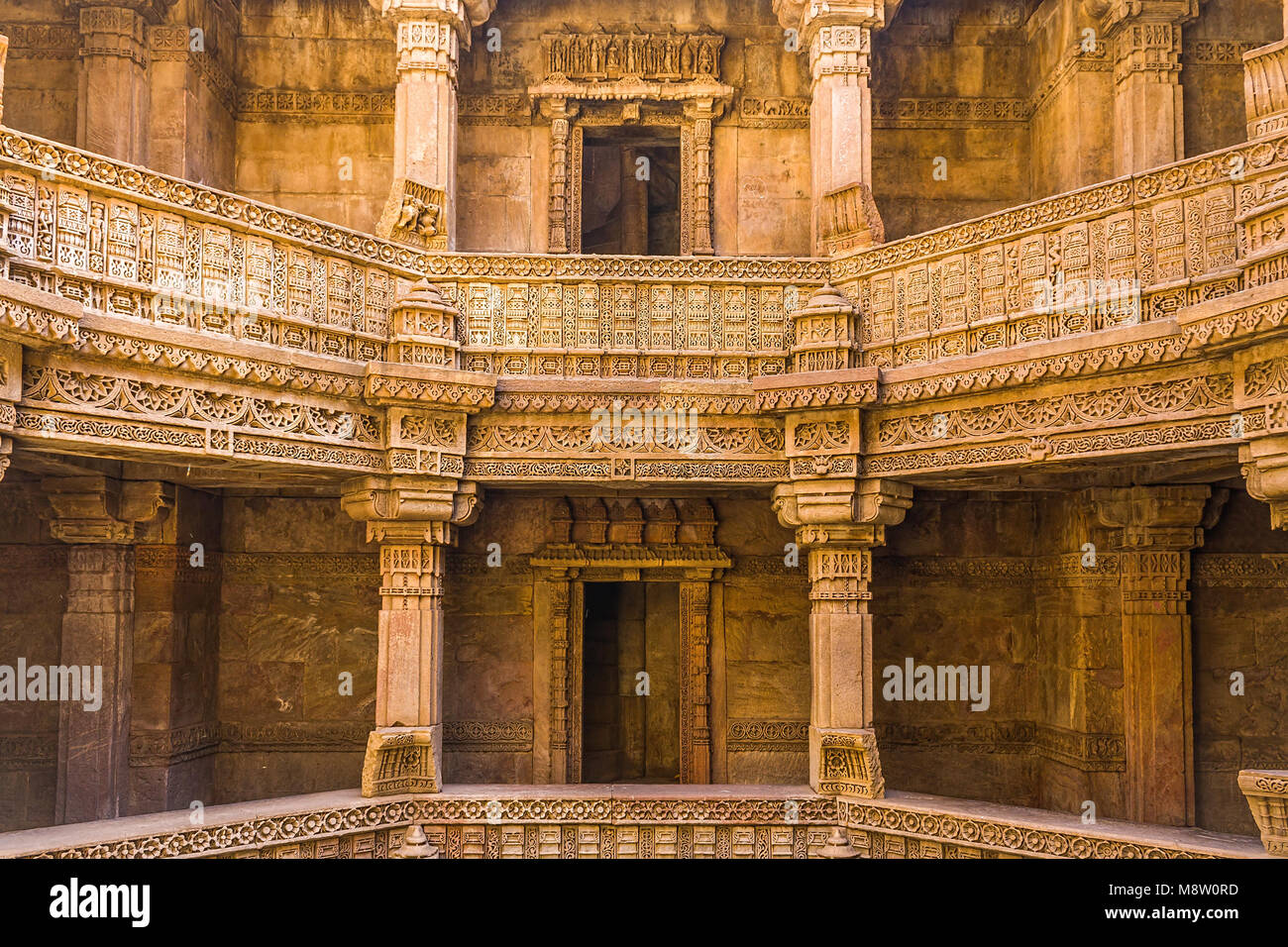 Step Well of Adalaj, Gujarat, India. - Stock Image
