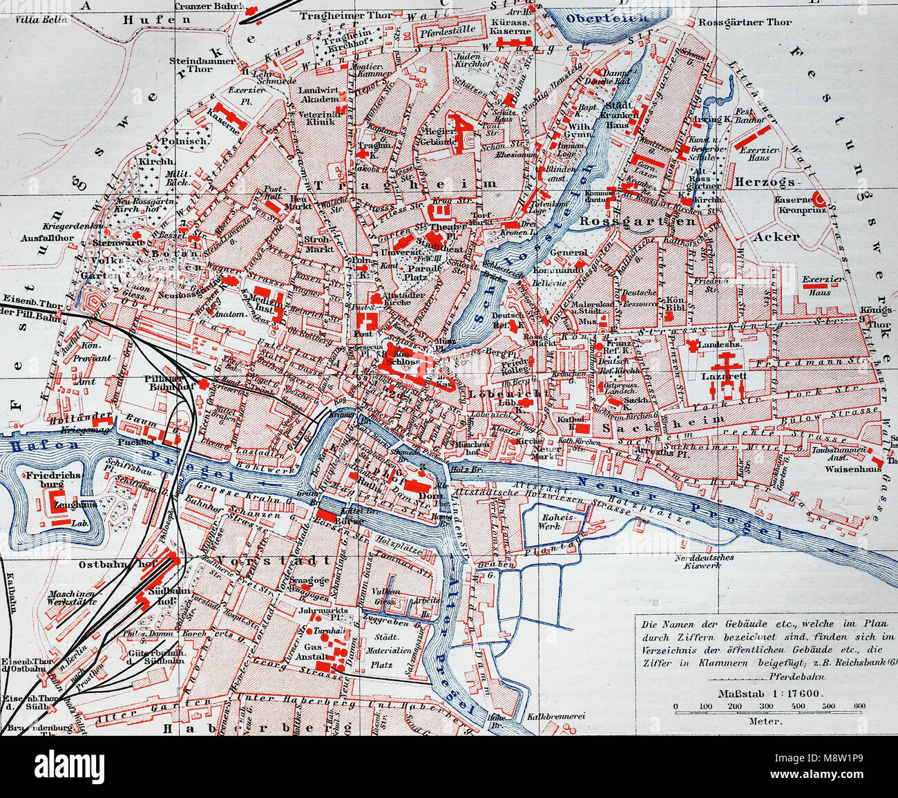 City Map From The Year 1892 Koenigsberg Now Kaliningrad Russia
