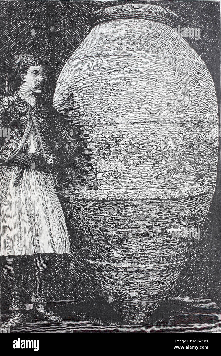 a Pithos. Pithos is the Greek name of a large storage container used among the civilizations that bordered the Mediterranean - Stock Image