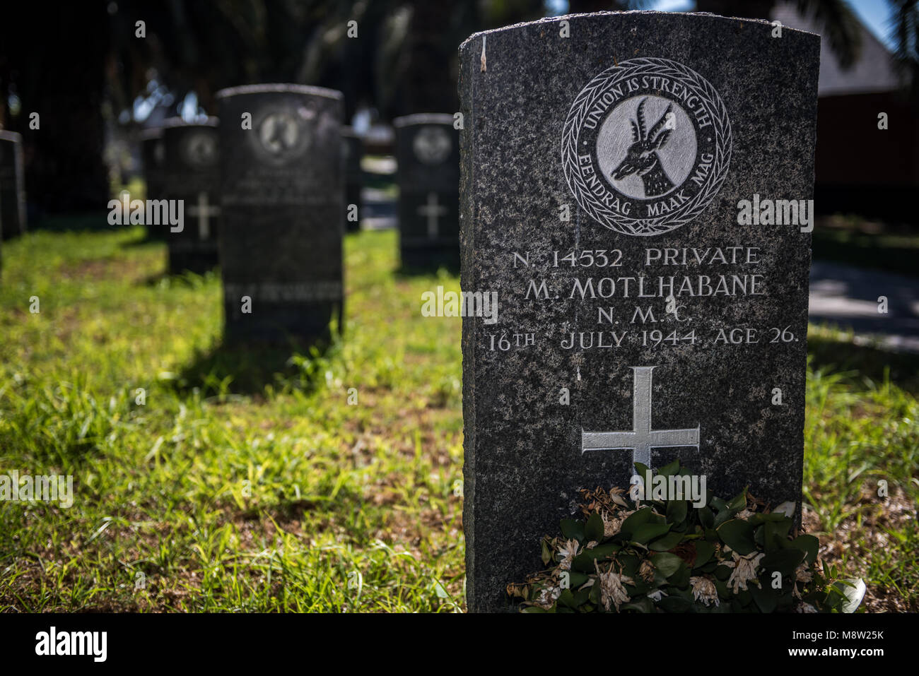 The grave of a young black African soldier killed during World War Two and buried in Swakopmund, Namibia - Stock Image