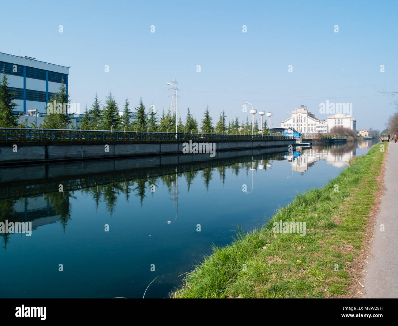 Turbigo-ITALY-03 12 2014, Turbigo thermoelectric power station on the Naviglio Grande in the Lombardy province of - Stock Image