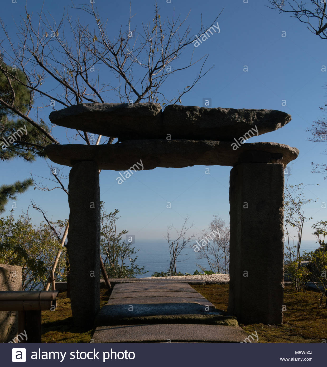 Located in Kanagawa, Enoura Observatory by Hiroshi Sugimoto is meditative space  which helps visitors to reconnect - Stock Image