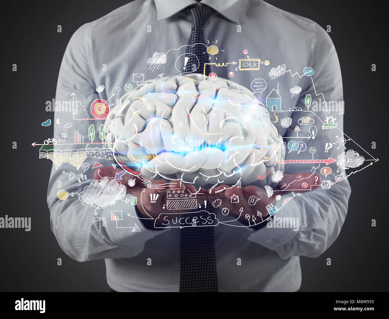 Man holds a brain with business drawing sketches on his hands. 3D Rendering - Stock Image