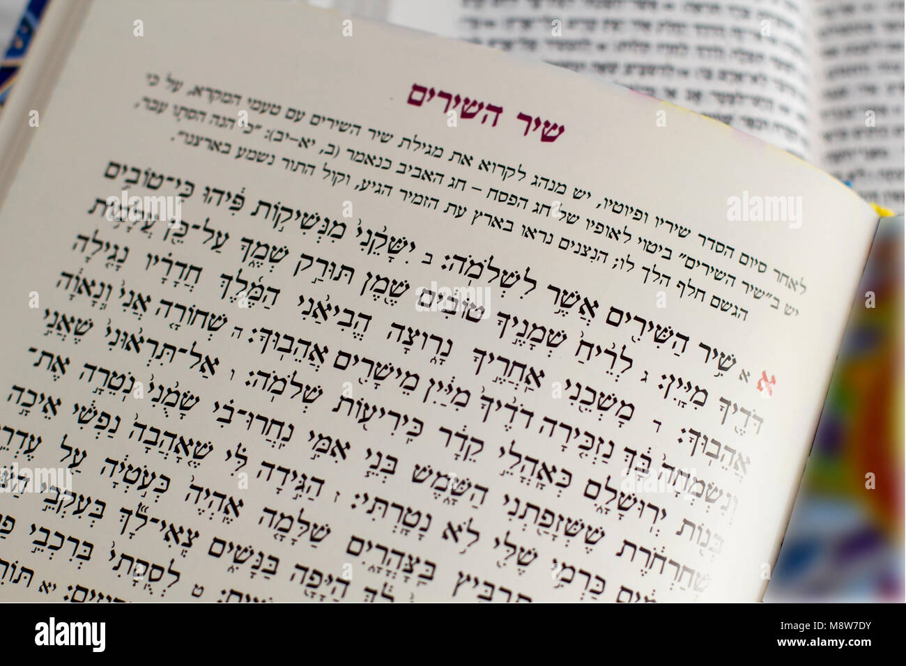 The Haggadah of Pesach Jewish text for Passover Evening. Judaica Related Background, Closeup - 'Song of Songs' - Stock Image