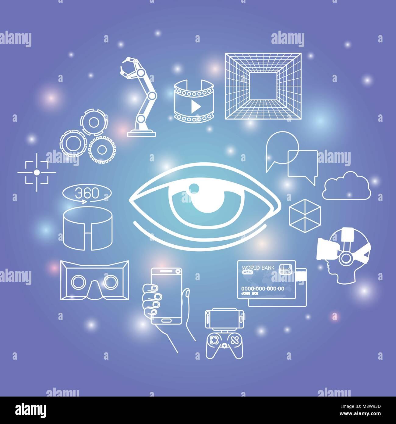 futuristic technology gadget set icons - Stock Image
