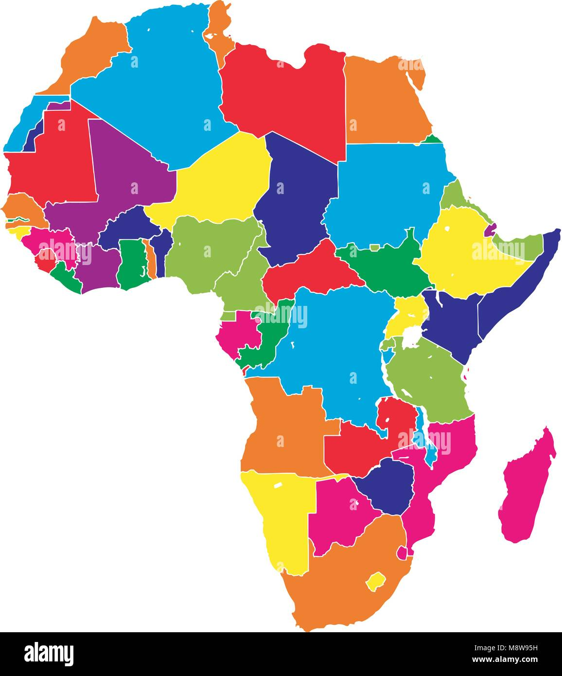 Africa colorful vector map. Political version usable for travel ...