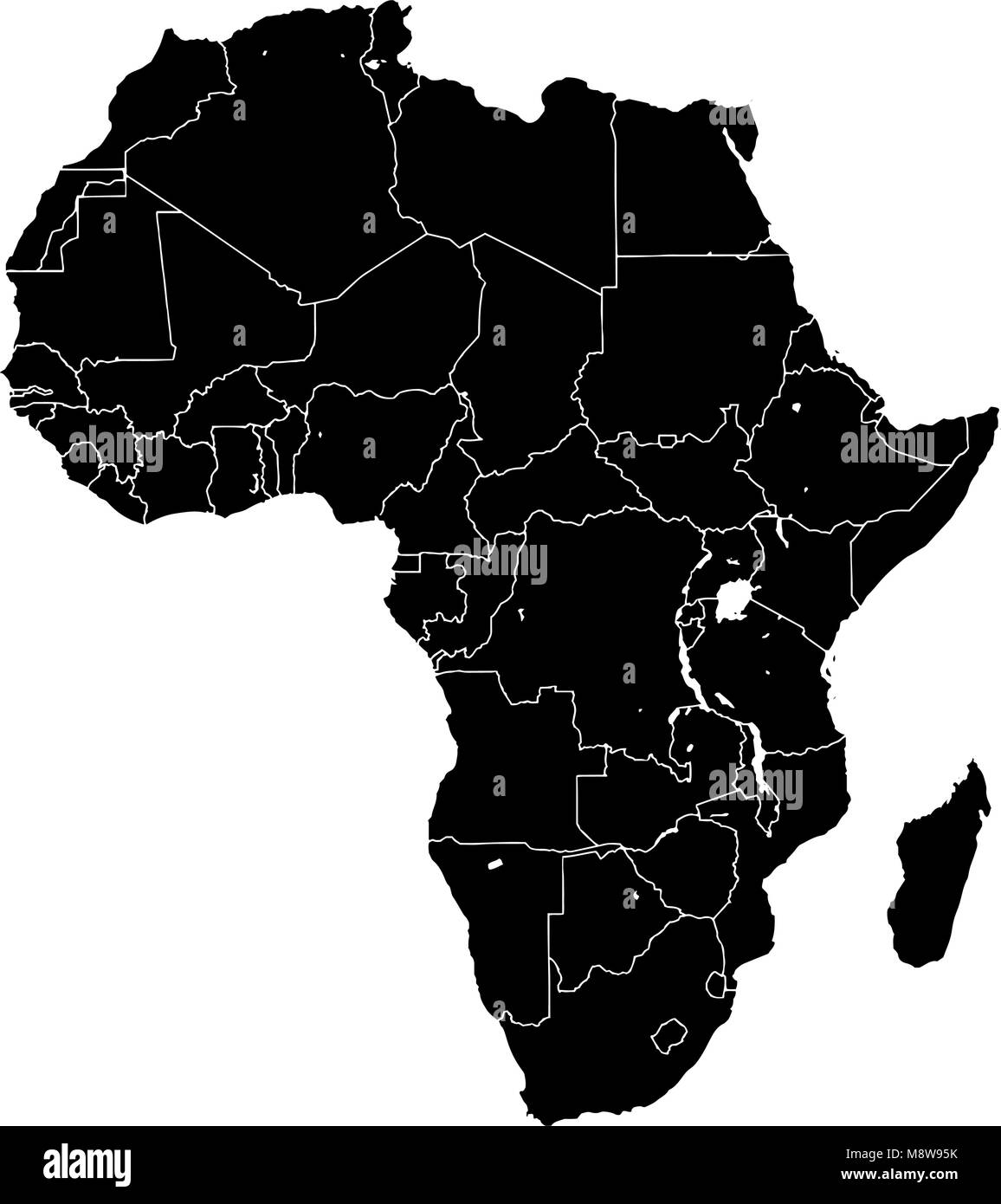 Africa silhouette vector map black and white version usable for travel marketing real estate and education