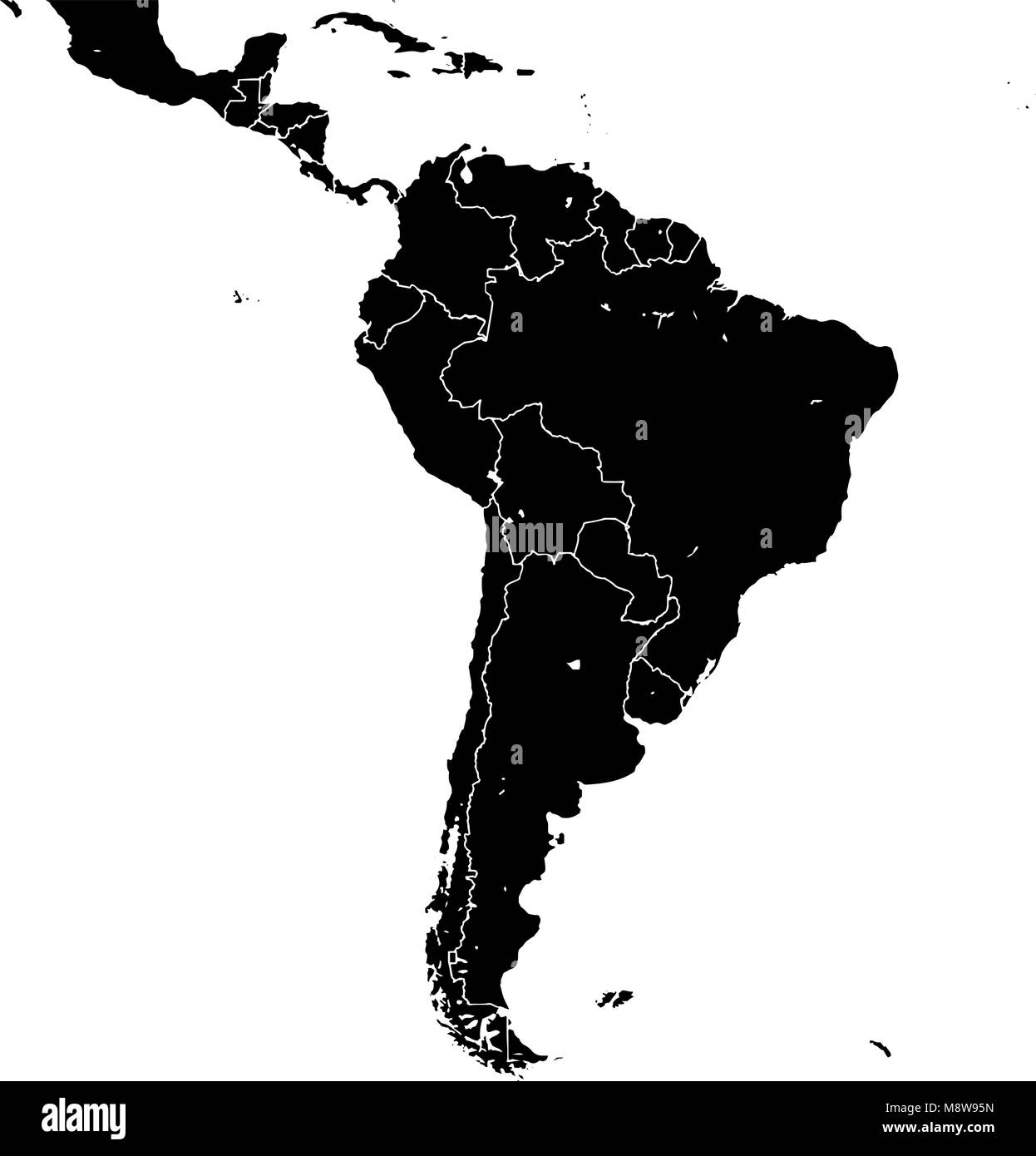 Time Zone Map Black And White: Latin America Map Vector Stock Photos & Latin America Map