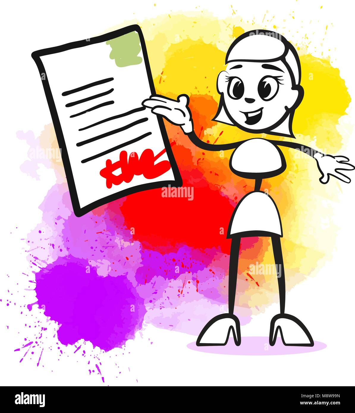 Business woman signing contract. Emotional business icon for digital marketing and print. Stickman series. Stock Vector