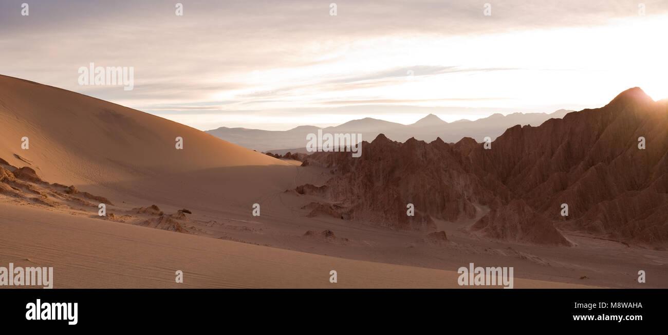 Salt formations and sand dunes at Valle de la Muerte (spanish for Death Valley) also know as Cordillera de la Sal Stock Photo