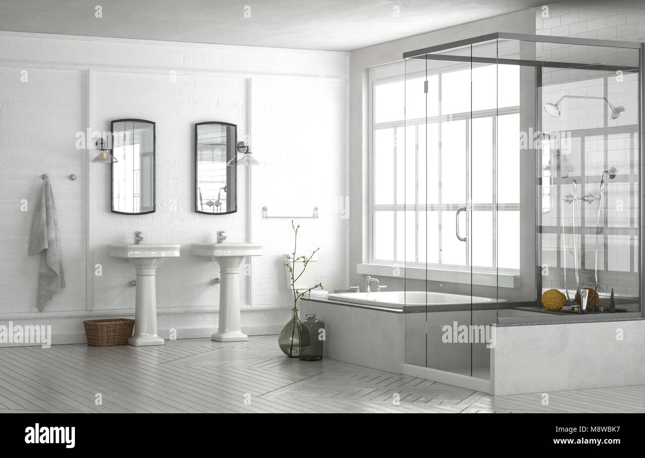 Fresh white spacious modern luxury bathroom interior with double ...