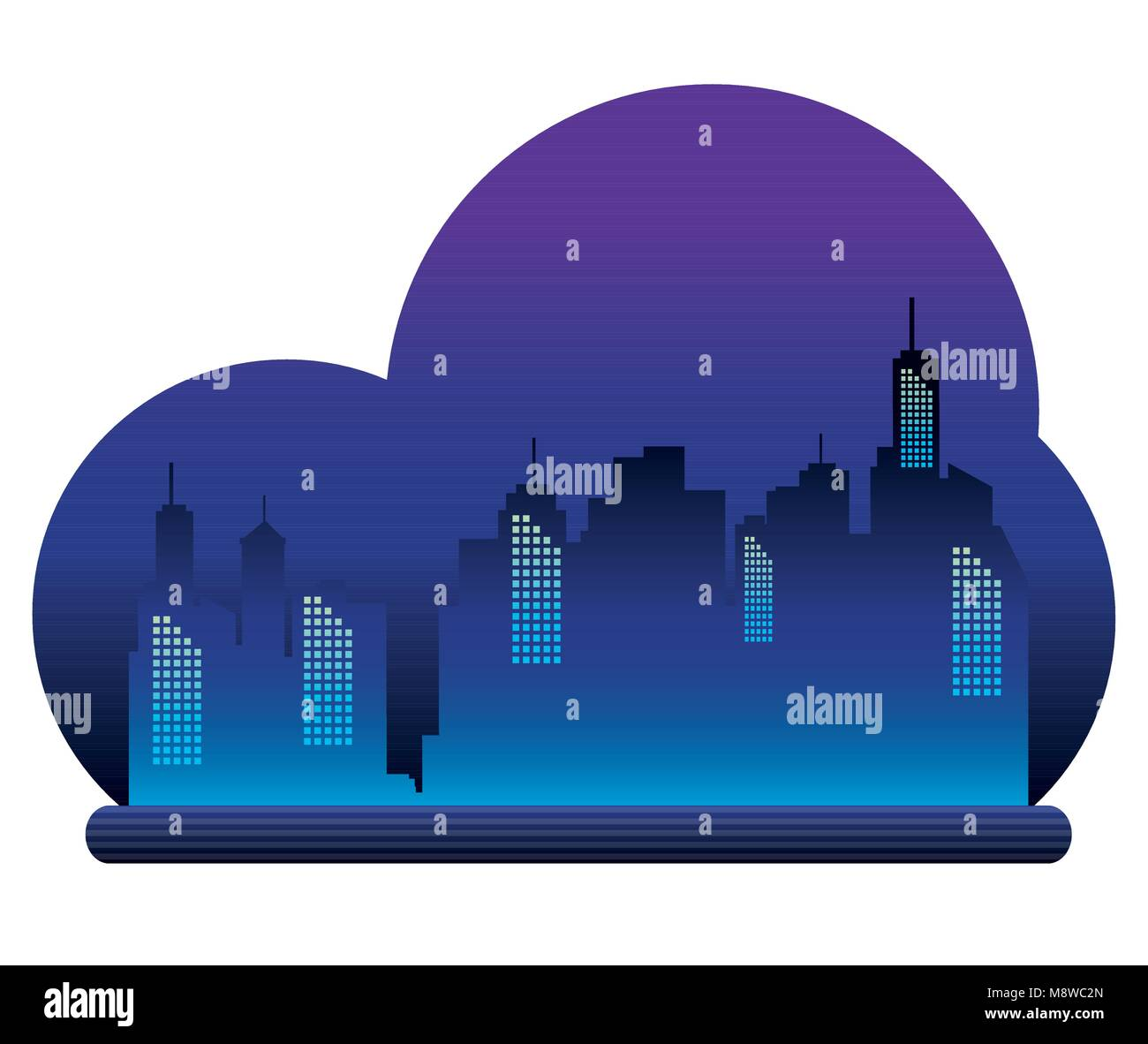 cityscape buildings with neons lights - Stock Image