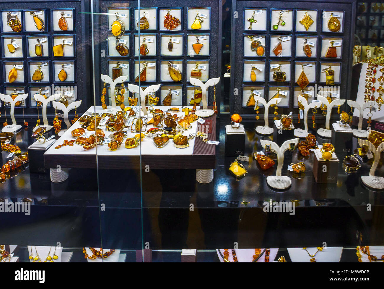 Prague, Czech Republic - December 31, 2017: Amber. Necklace with big spheres of amber in Prague. Stock Photo