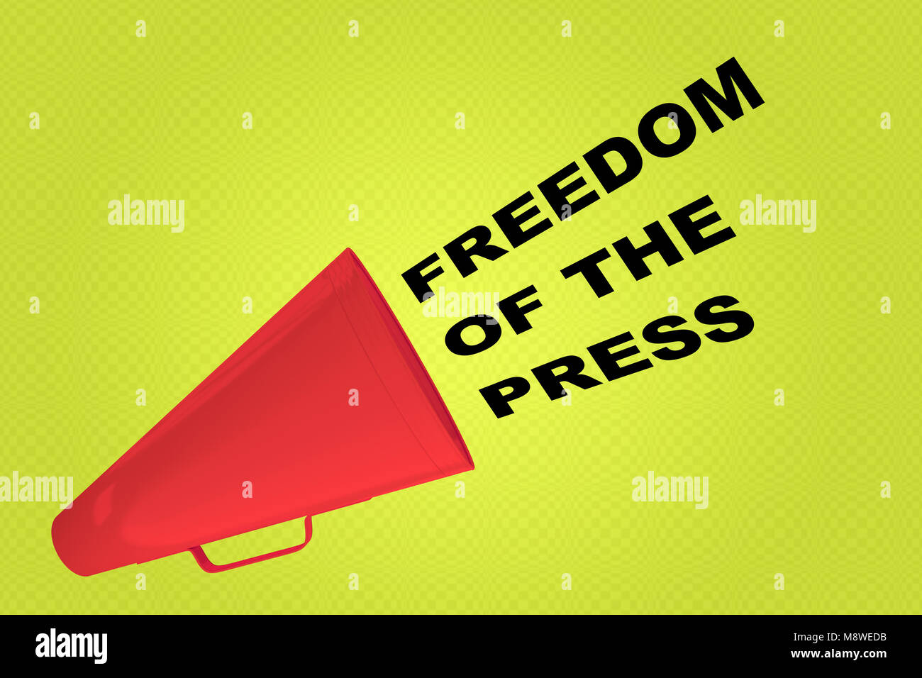 3D illustration of FREEDOM OF THE PRESS title flowing from a loudspeaker - Stock Image