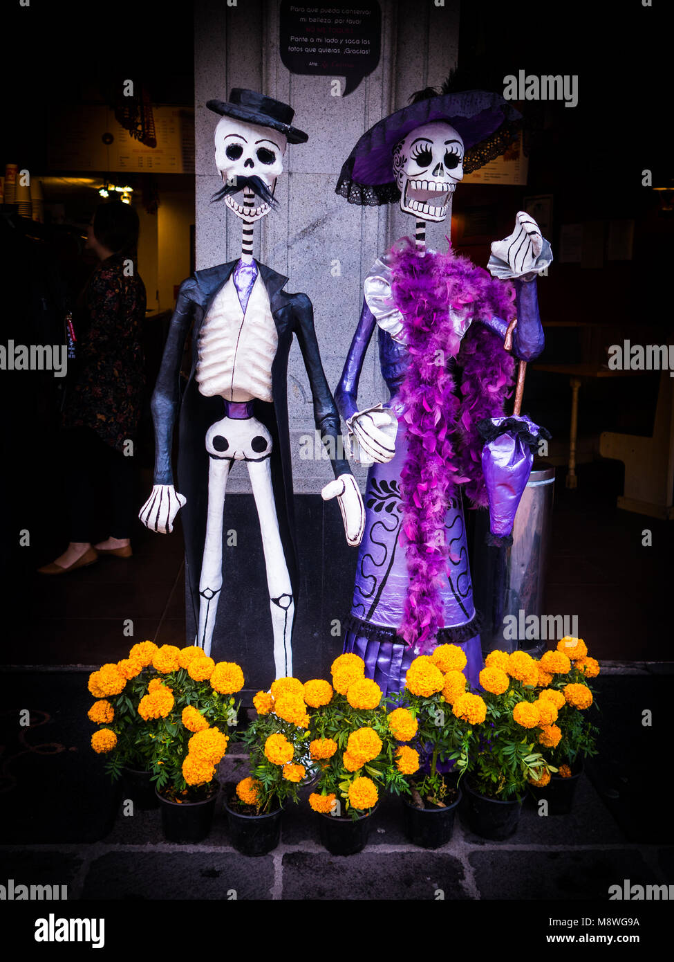 Day Of The Dead Display In Coyoacan Mexico City With Catrina And