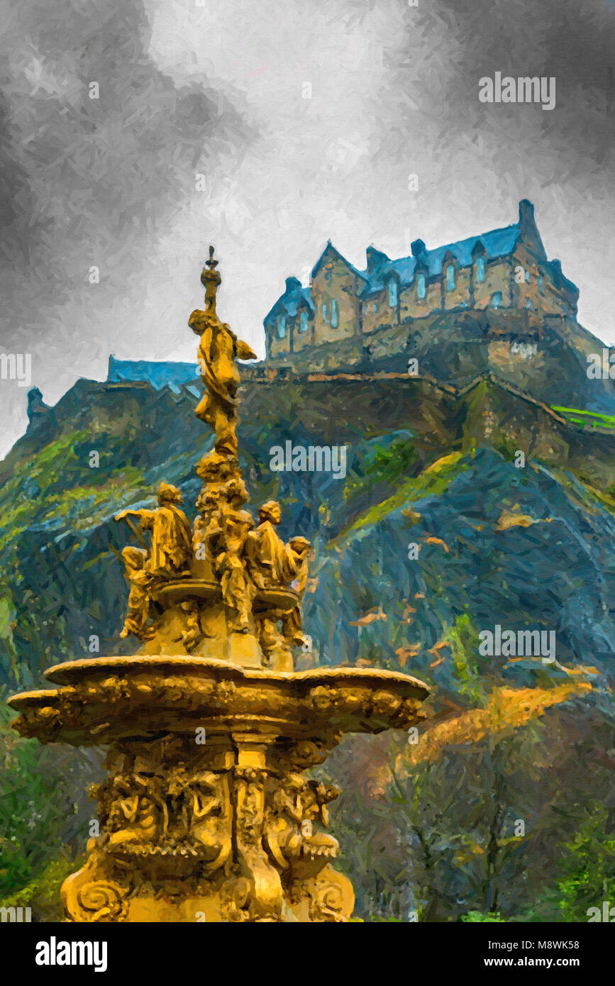 Digital painting of the golden Ross fountain in Princess street gardens in Edinburgh, Scotland creates a beautiful - Stock Image