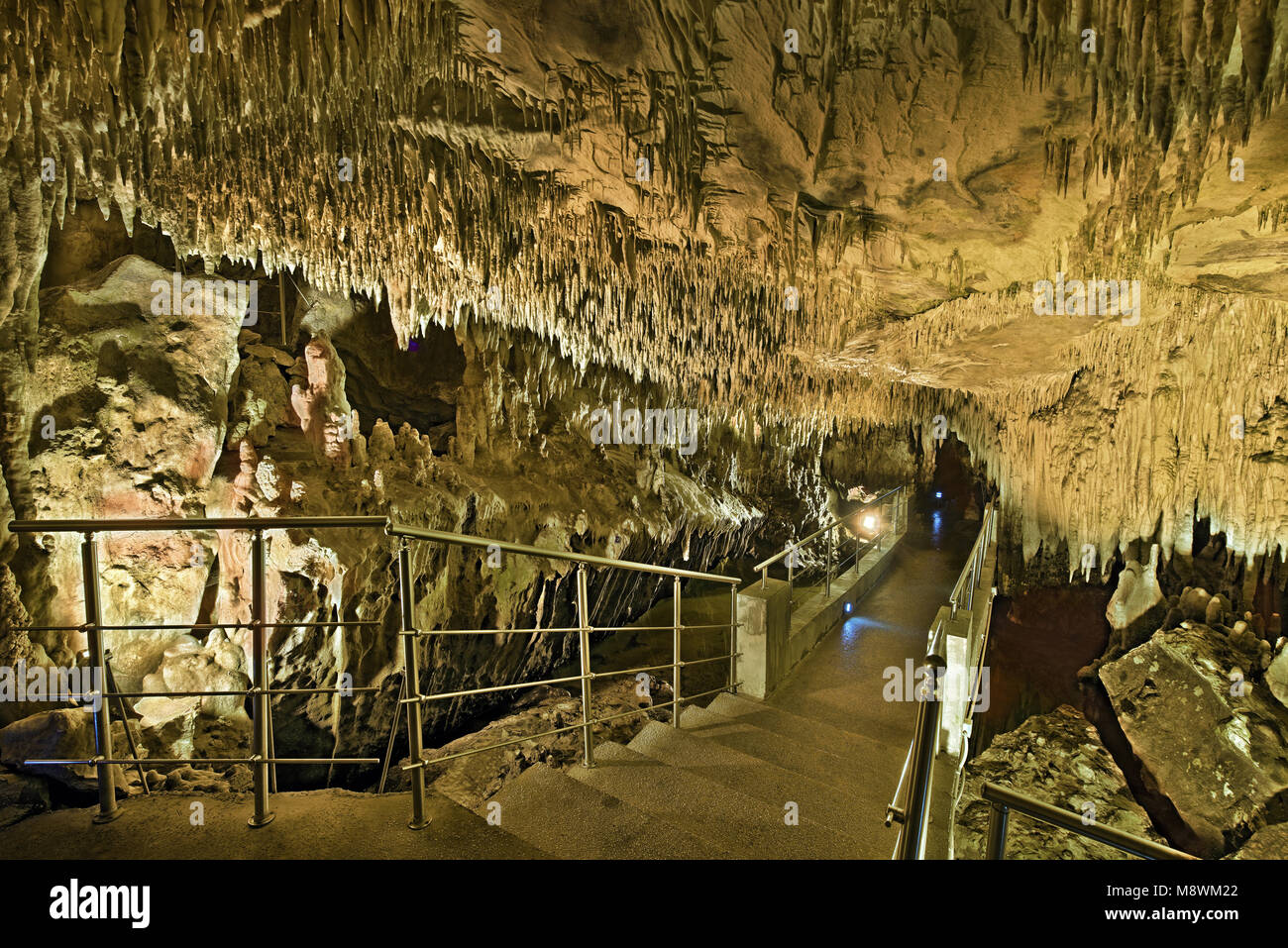 Cave of Dragon, Kastoria city,  the cave is located on the north side of the city,  near the Monastery of Panagia - Stock Image