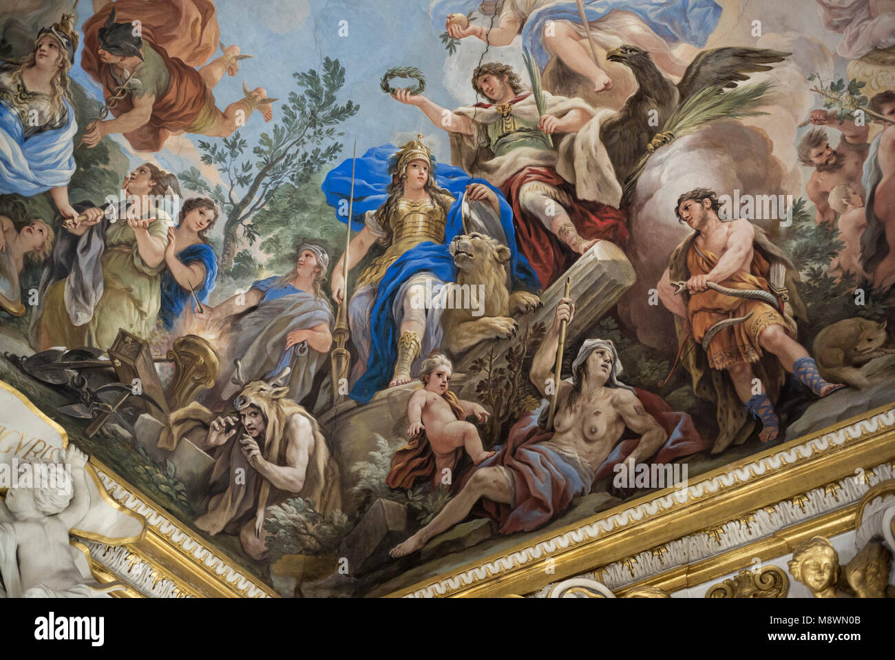 Florence. Italy. Allegory of Fortitude, fresco detail, 1685, in the Galleria Riccardiana by Luca Giordano (1634 Stock Photo