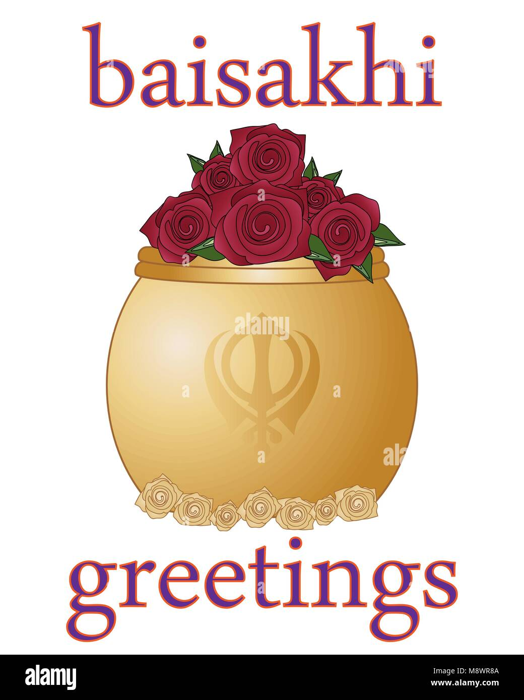 a vector illustration in eps 10 format of a Baisakhi greeting card for the Sikh religious festival with golden rose - Stock Vector