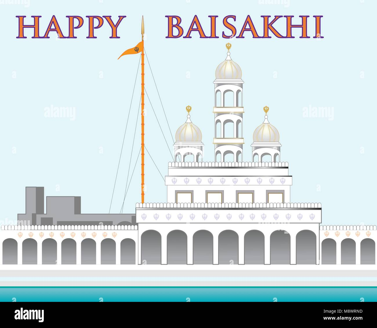 a vector illustration in eps 10 format of a beautiful gurdwara on a blue background with the words happy Baisakhi - Stock Vector