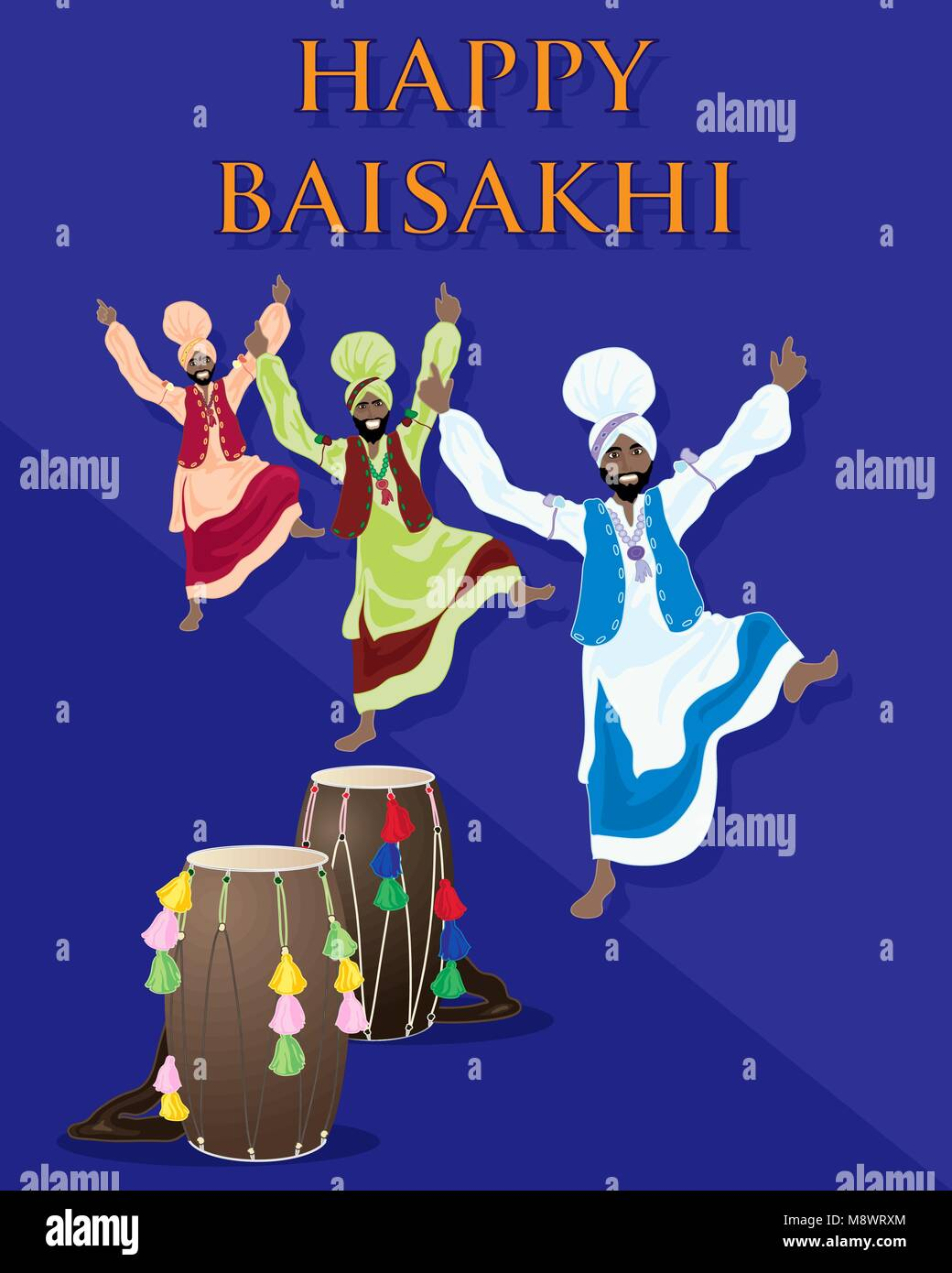 a vector illustration in eps 10 format of a Punjabi celebration greeting card with drums and dancers on a purple - Stock Vector