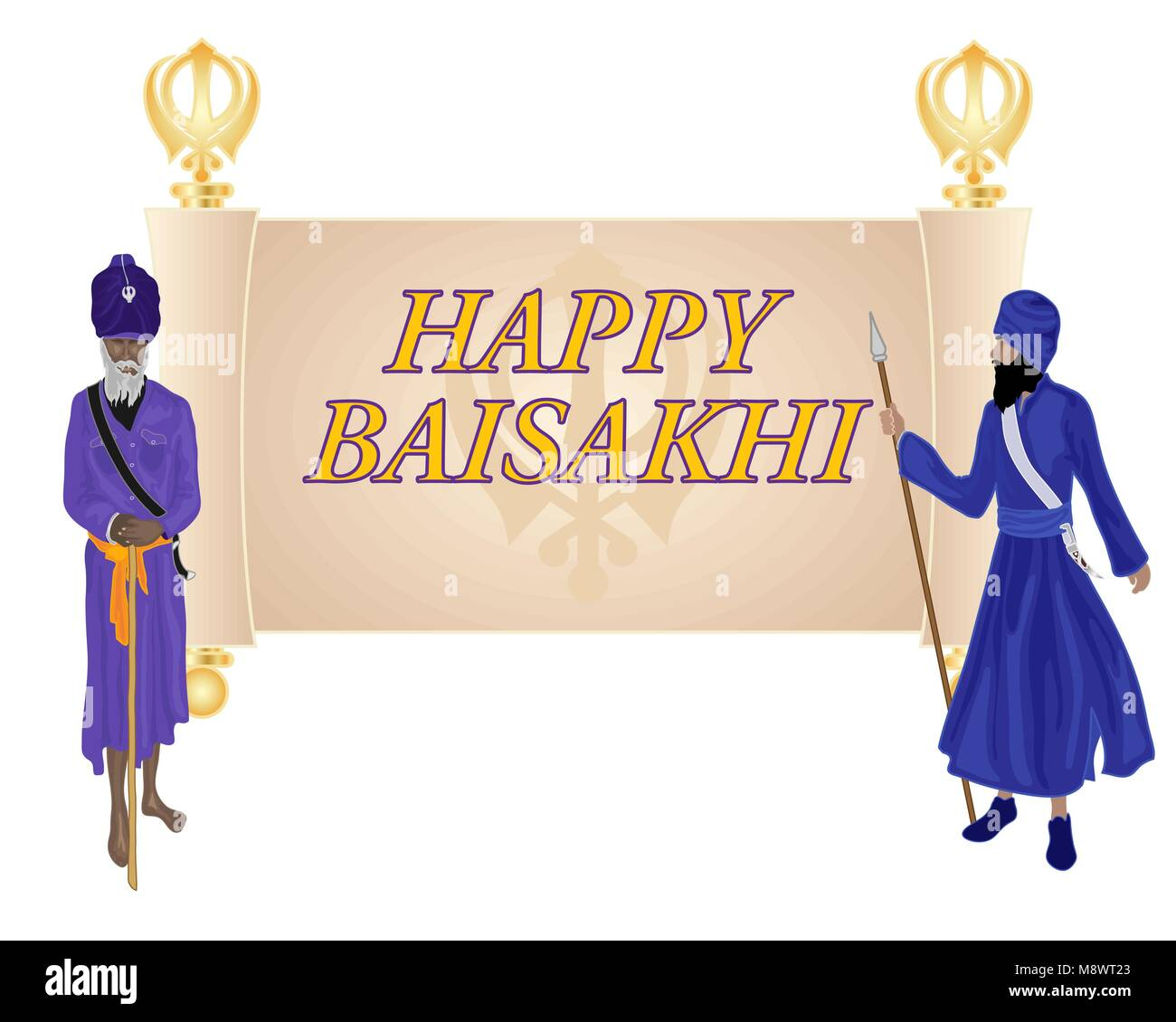 a vector illustration in eps 10 format of a Baisakhi greeting card for the Sikh religious festival with an old parchment - Stock Vector