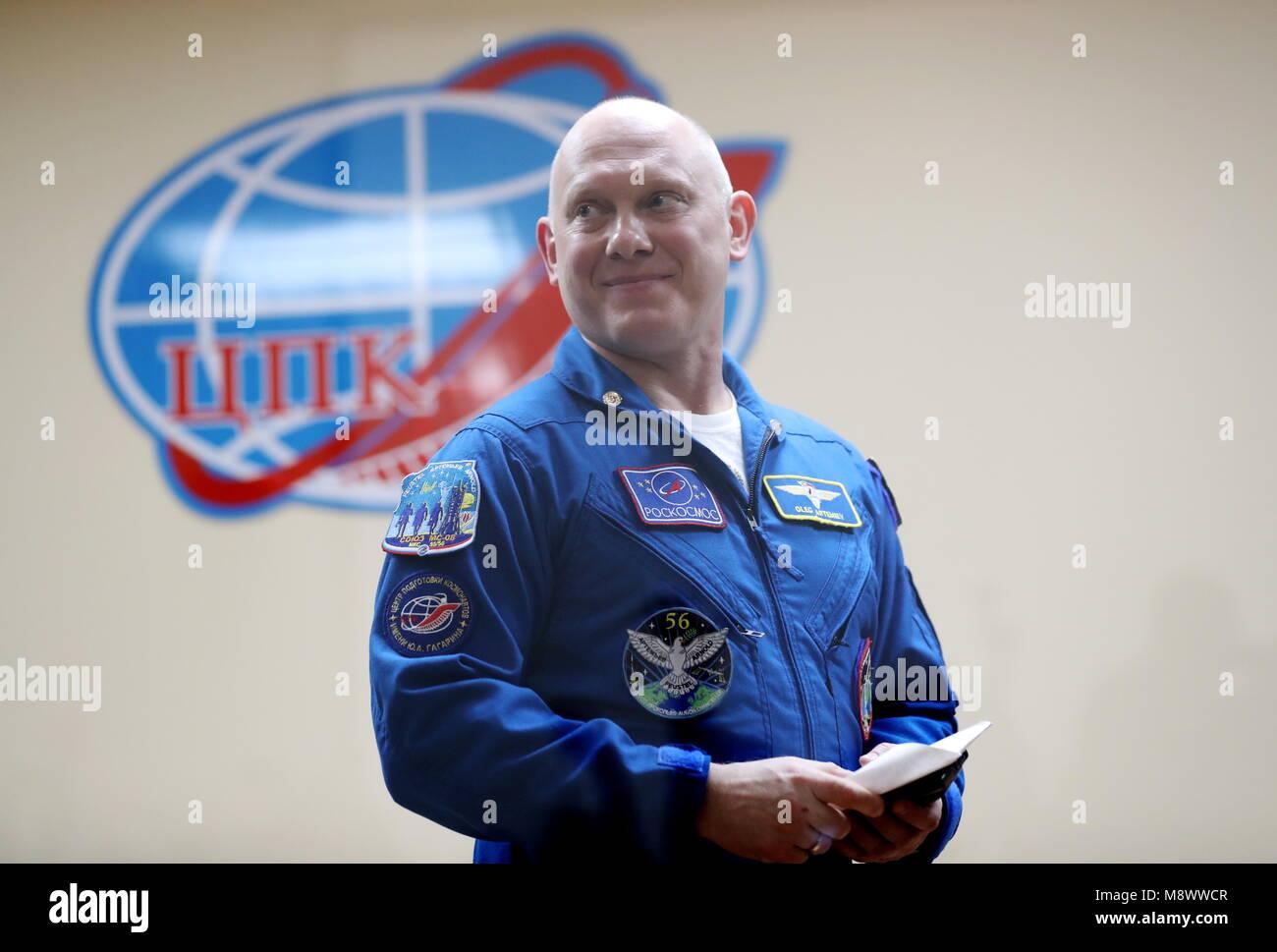 Baikonur, Kazakhstan. 20th Mar, 2018. BAIKONUR, KAZAKHSTAN - MARCH 20, 2018: Roscosmos cosmonaut Oleg Artemyev smiles Stock Photo