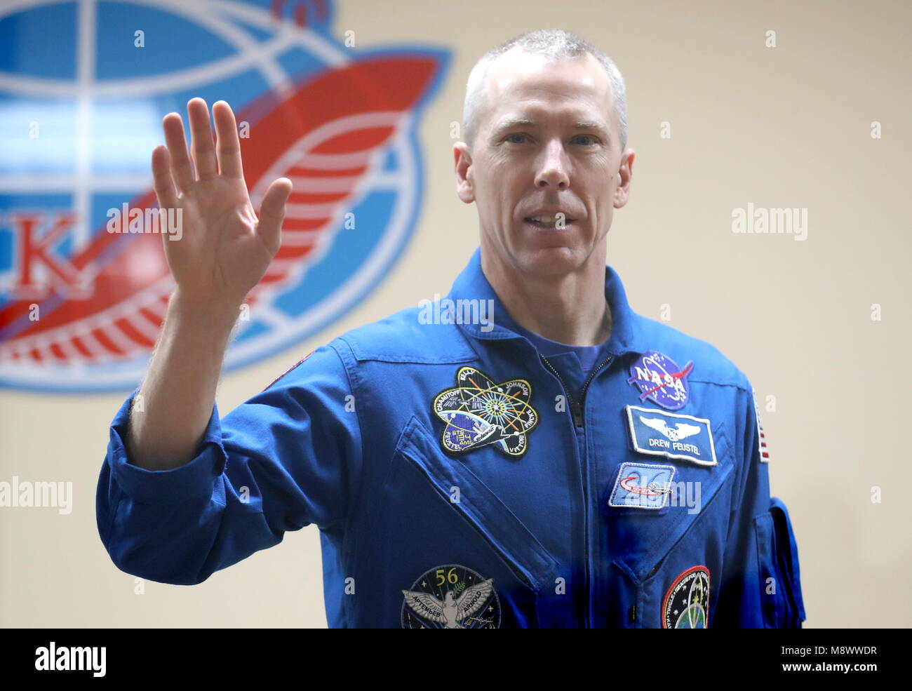 Baikonur, Kazakhstan. 20th Mar, 2018. BAIKONUR, KAZAKHSTAN - MARCH 20, 2018: NASA astronaut Andrew J. Feustel waves - Stock Image